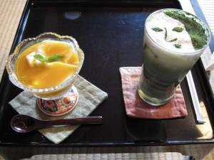 【京都市】 よーじやカフェ銀閣寺店 豆腐花(トウファ)&抹茶カプチーノ(アイス)