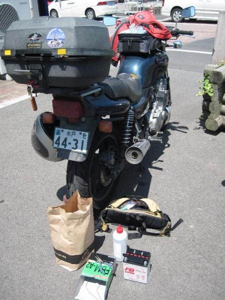 「ジョイフルホンダ」ひたちなか店の駐輪場でバッテリー交換