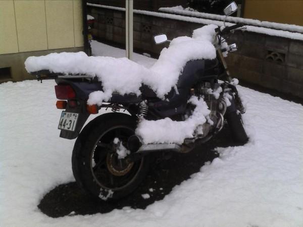 「2/18 雪に埋もれたボロバイク」