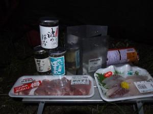 「輪島 袖ヶ浜キャンプ場の晩餐」