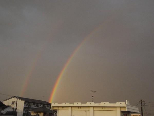 「大甕のアパートから見えた二重虹」