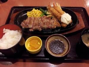 【奈良県御所市】 かもきみの湯 「特選牛ステーキ&海老フライ定食」