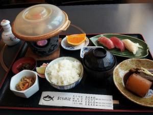 【神奈川県三浦市】 まぐろ料理立花 「カマトロ陶板焼き・トロ寿司セット」