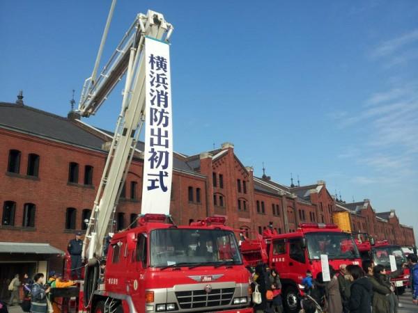 横浜消防出初式の会場赤レンガ倉庫