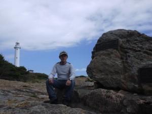 トドヶ崎灯台と本州最東端の碑と一緒に記念写真