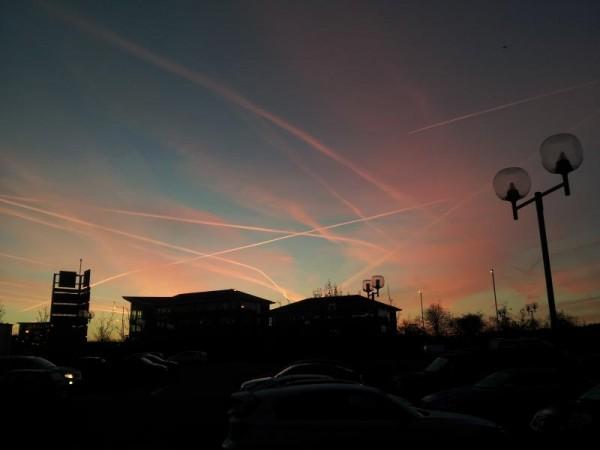 飛行機雲だらけの朝焼け
