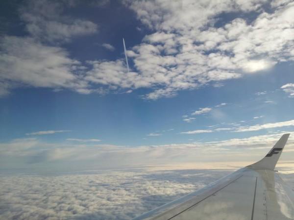 ヘルシンキへ向かうジェット機から