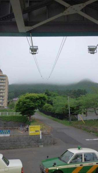 函館山山頂方面。ガスっていて駄目そう