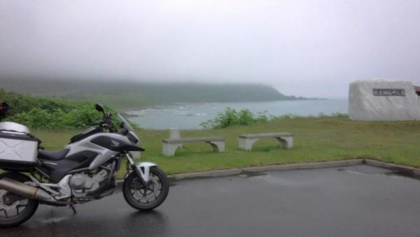霧で見えない神威岬