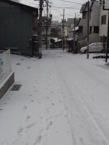 「1166 バックパッカーズ」 チェックアウト時の雪景色