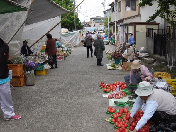 「路地で開かれる勝浦朝市」