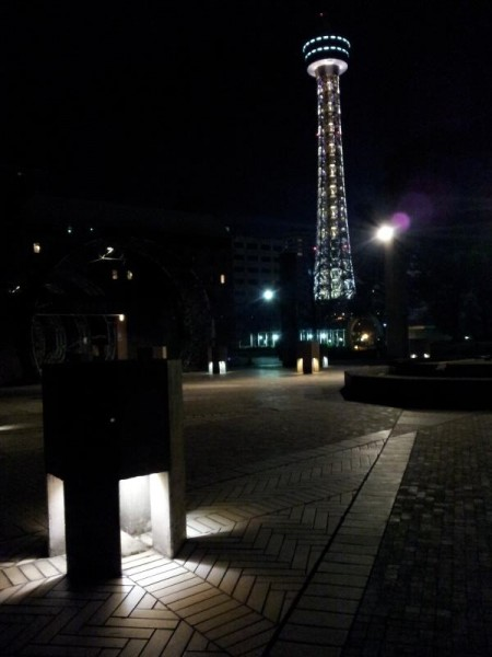 山下公園から眺める横浜マリンタワー