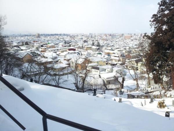 白虎隊十九士の墓からの鶴ヶ城方面眺望