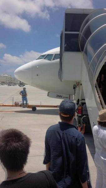那覇空港にてスカイマークに搭乗