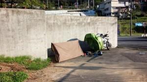 道の駅 宇陀路室生の裏手にてテントを干す