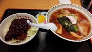 【福島県会津若松市】 牛乳屋食堂 「半カツ丼とラーメン1人前(Bセット)」