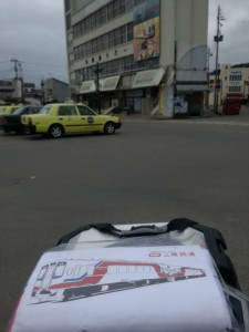久慈駅前と三陸鉄道タオル